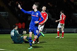 Rochdale's Joe Bunney celebrates after scoring his sides fourth goal, 4-0 - Photo mandatory by-line: Matt McNulty/JMP - Mobile: 07966 386802 - 03/03/2015 - SPORT - football - Rochdale - Spotland Stadium - Rochdale v Crewe Alexandra - Sky Bet League One