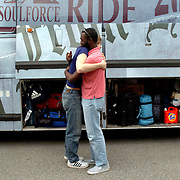 (03/12/06).Donte Warren-Smith, 19 hugs Tommy Atz, 26 in front of the Equality Riders bus in Washington D.C. The group of 33 young adults plan to visit 19 colleges and create positive dialogue to confront the derogatory policies against Gays, Lesbians and Transgendered people at the schools. .(Times Photo Willie J. Allen Jr.)