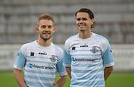 Smil hos Anders Holst og Thomas Kristensen (FC Helsingør) før kampen i 2. Division mellem FC Helsingør og Holbæk B&I den 6. september 2019 på Helsingør Ny Stadion (Foto: Claus Birch).