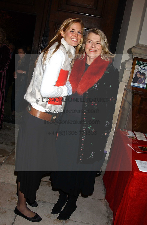 Left to right, MISS ALICE FERGUSON half sister of Sarah, Duchess of York and her mother SUSAN FERGUSON at Carols from Chelsea in aid of the Institute of Cancer Research at the Royal Hospital Chapel, Chelsea, London on 1st December 2005.<br /><br />NON EXCLUSIVE - WORLD RIGHTS