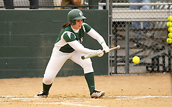 30 March 2013:  Emma Clark during an NCAA Division III women's softball game between the DePauw Tigers and the Illinois Wesleyan Titans in Bloomington IL
