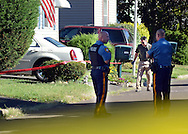 Police personnel investigate the scene of a stabbing murder Monday, September 12, 2016 on the 6200 block of Foster Drive in Falls Township, Pennsylvania.  (Photo by William Thomas Cain)