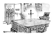 (A group of managers entering the unoccupied office labelled Managing Director where a sword is thrust into the desk)