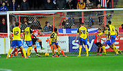 Exeter scores the equalsing goal during the Sky Bet League 2 match between Exeter City and Dagenham and Redbridge at St James' Park, Exeter, England on 2 January 2016. Photo by Graham Hunt.