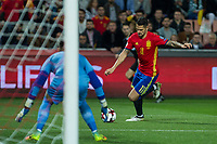 Macedonia's Stole Dimitrievski Spain's Vitolo Machin  during the match of European qualifying round between Spain and Macedonia at Nuevo Los Carmenes Stadium in Granada, Spain. November 12, 2016. (ALTERPHOTOS/Rodrigo Jimenez)