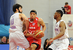 Bristol Flyers' Greg Streete is blocked - Photo mandatory by-line: Dougie Allward/JMP - Mobile: 07966 386802 - 18/04/2015 - SPORT - Basketball - Bristol - SGS Wise Campus - Bristol Flyers v Leeds Force - British Basketball League