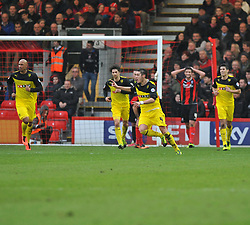Watford's Hector Bellerin celebrates his goal. - Photo mandatory by-line: Alex James/JMP - Tel: Mobile: 07966 386802 18/01/2014 - SPORT - FOOTBALL - Goldsands Stadium - Bournemouth - Bournemouth v Watford - Sky Bet Championship