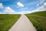 Small narrow lane on chalk downland scarp slope, Allington Down, Wiltshire, England