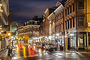 Fore Street dazzles after a winter rain.