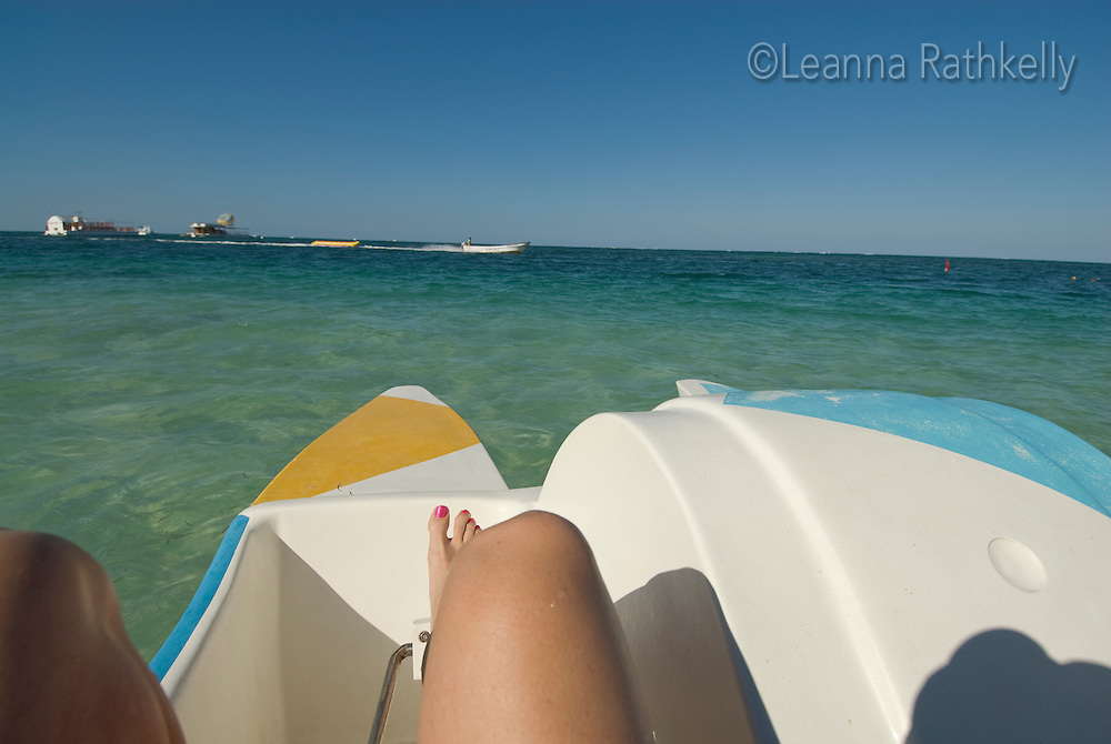 We enjoy a pedal boat ride on the ocean at Bavaro Beach, near Punta Cana, Dominican Republic.