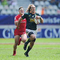 Werner Kok celebrates of South Africa during match between South Africa and Russia at the HSBC Paris Sevens, stage of the Rugby Sevens World Series at Stade Jean Bouin on June 9, 2018 in Paris, France. (Photo by Sandra Ruhaut/Icon Sport)