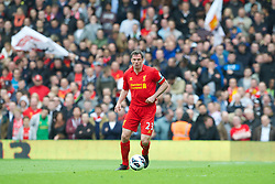 LONDON, ENGLAND - Sunday, May 12, 2013: Liverpool's captain Jamie Carragher in action against Fulham during the Premiership match at Craven Cottage. (Pic by David Rawcliffe/Propaganda)