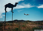 Camel signpost and a plane flying in the sky, Ibiza, 2000