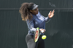 March 21, 2018 - Miami, FL, United States - Miami, FL - March, 21:Serena Williams (USA) warms-up for her match against Naomi Osaka (JPN) at the 2017 Miami Open held at the Tennis Center at Crandon Park.   Credit: Andrew Patron/Zuma Wire (Credit Image: © Andrew Patron via ZUMA Wire)
