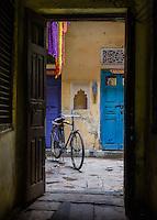 VARANASI, INDIA - CIRCA NOVEMBER 2016: Typical house entrance in Old Varanasi.