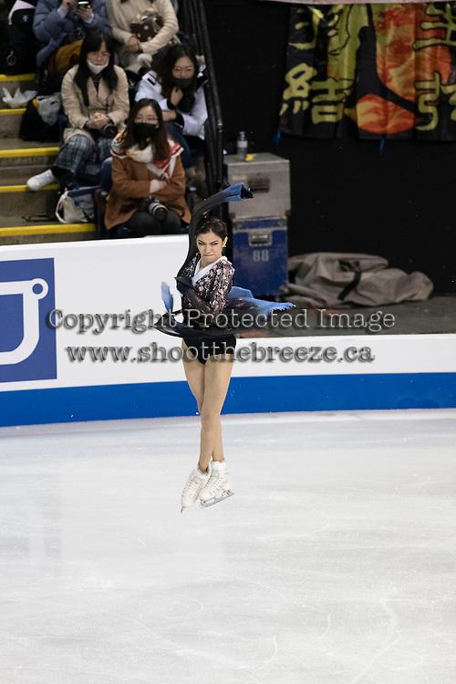 KELOWNA, BC - OCTOBER 26: Russian figure skater Evgenia Medvedeva competes during ladies long program of Skate Canada International held at Prospera Place on October 26, 2019 in Kelowna, Canada. (Photo by Marissa Baecker/Shoot the Breeze)