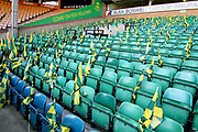 Flags laid out for Norwich City fans before the EFL Sky Bet Championship match between Norwich City and Sheffield Wednesday at Carrow Road, Norwich, England on 19 April 2019.