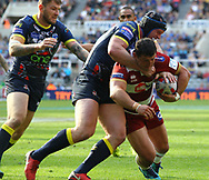 Ben Flower of Wigan Warriors on the attack against Warrington  Wolves during the Betfred Super League match   at the Dacia Magic Weekend, St. James's Park, Newcastle<br /> Picture by Stephen Gaunt/Focus Images Ltd +447904 833202<br /> 19/05/2018
