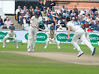 Cricket - 2019 Australia Ashes Tour of England - 4th Test, Day Three<br /> <br /> Rory Burns plays a rising delivery from  Pat Cummins at Old Trafford, at Old Trafford.<br /> <br /> COLORSPORT/WINSTON BYNORTH