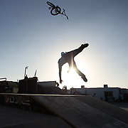 A BMX rider loses it whilst performing a trick at a skatepark in Dubai.