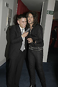 James Mullinger and Russell Brand, GQ Men Of The Year Awards, Royal Opera House, London, WC2. 5 September 2006. ONE TIME USE ONLY - DO NOT ARCHIVE  © Copyright Photograph by Dafydd Jones 66 Stockwell Park Rd. London SW9 0DA Tel 020 7733 0108 www.dafjones.com