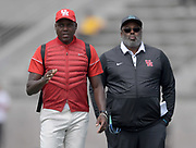 Apr 19, 2019; Torrance, CA, USA; Houston Cougars coach Leroy Burrell (right) and assistant coach Carl Lewis during the 61st Mt. San Antonio College Relays at El Camino College.