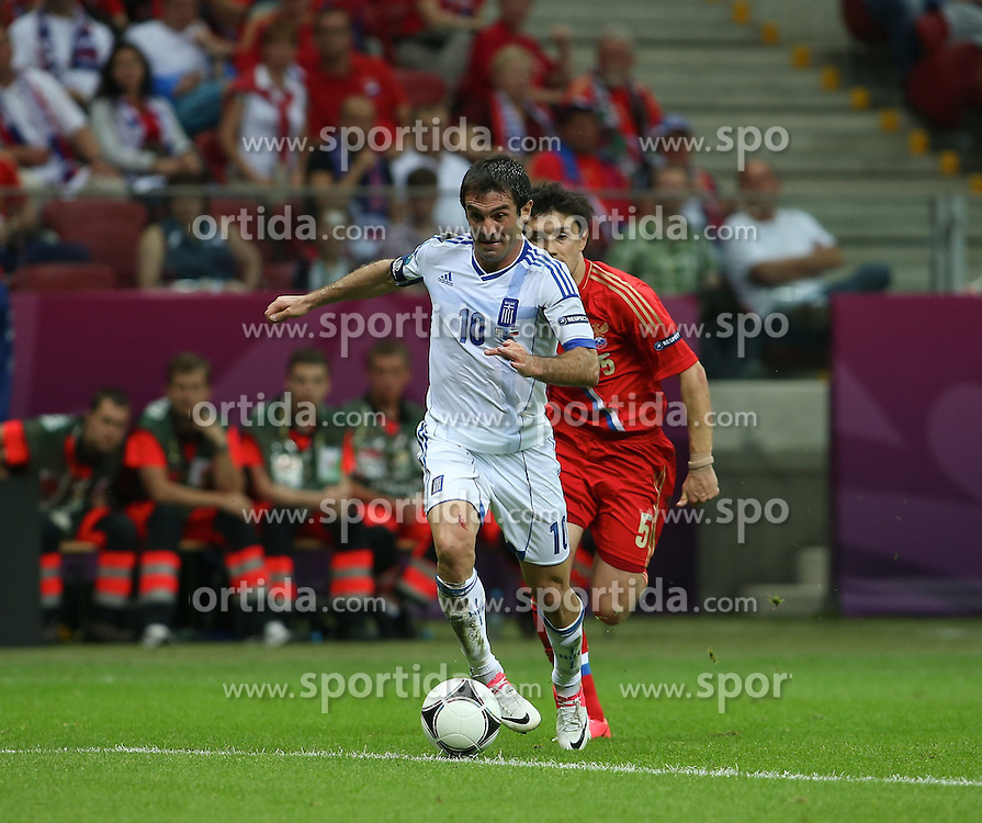 16.06.2012, Nationalstadion, Warschau, POL, UEFA EURO 2012, Griechenland vs Russland, Gruppe A, im Bild KOSTAS KARAGUNIS BRAMKA GOL // during the UEFA Euro 2012 Group A Match between Greece and Russia at the National Stadium Warsaw, Poland on 2012/06/16. EXPA Pictures © 2012, PhotoCredit: EXPA/ Newspix/ ATTENTION - for AUT, SLO, CRO, SRB, SUI and SWE only *****