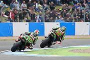 #66 Tom Sykes / GBR / Kawasaki ZX-10R / Kawasaki Racing Team and #1 Jonathan Rea / GBR / Kawasaki ZX-10R / Kawasaki Racing Team during the 2016 World Superbike Championship at Donington Park, Castle Donington, United Kingdom on 28 May 2016. Photo by Jon Hobley.