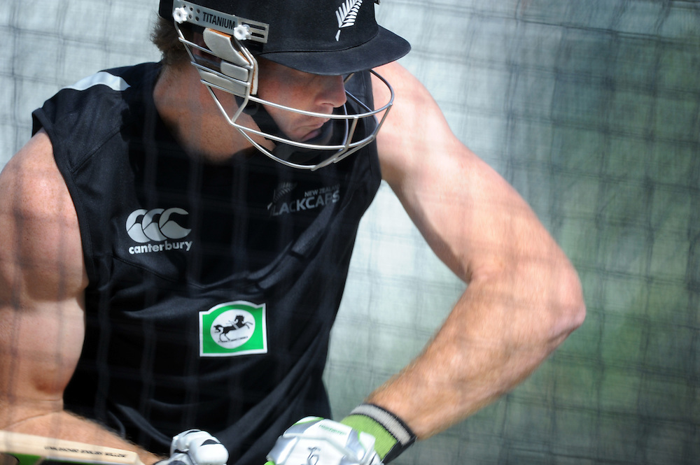 Martin Guptill in the nets at the New Zealand teams training, Seddon Park, as they prepare for the second test against South Africa, Hamilton, New Zealand, Wednesday, March 14, 2012. Credit:SNPA / Ross Setford