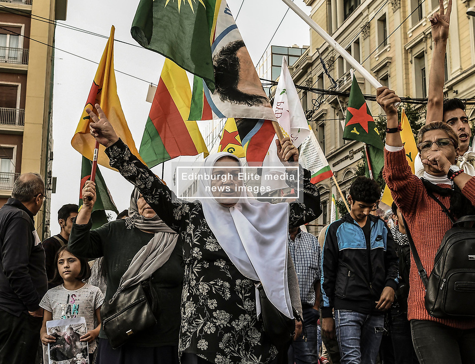 "Kurds living in Greece during a protest near the Turkish embassy in Athens, on October 12, 2019. Turkey launched an assault on Kurdish forces in northern Syria with air strikes and explosions reported along the border. President Recep Tayyip Erdogan announced the start of the attack on Twitter, labelling it ""Operation Peace Spring"".<br /> <br /> Pictured: <br /> Dimitris Lampropoulos  