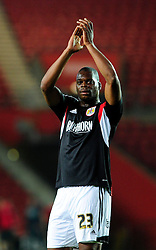 Bristol City's Marlon Harewood applauds the fans support  - Photo mandatory by-line: Dougie Allward/JMP - Tel: Mobile: 07966 386802 24/09/2013 - SPORT - FOOTBALL - St Mary's Stadium - Southampton - Southampton V Bristol City - Capital One Cup