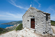 Hiking trail on Hum, the highest point on the island of Vis, Croatia. Church of Sveti Duh.