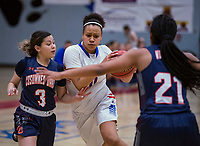 Folsom Bulldogs McKenzie Forbes (0), drives to the basket during the first quarter as the Folsom Bulldogs Varsity Girls Varsity basketball team hosts the Cosumnes Oaks Wolfpack, Tuesday Feb 27, 2018.  <br /> photo by Brian Baer