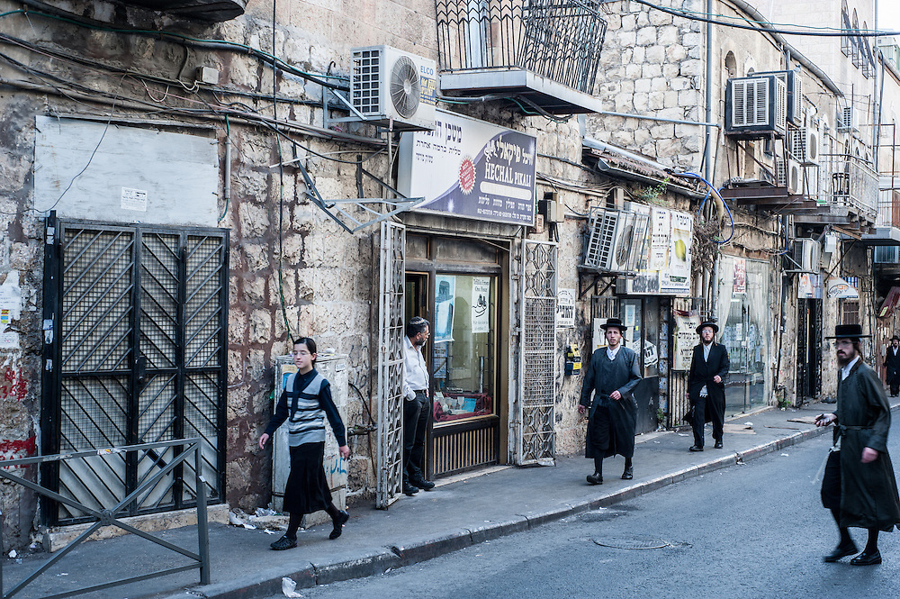 A neighborhood street in the Mea Sharim area of Jerusalem