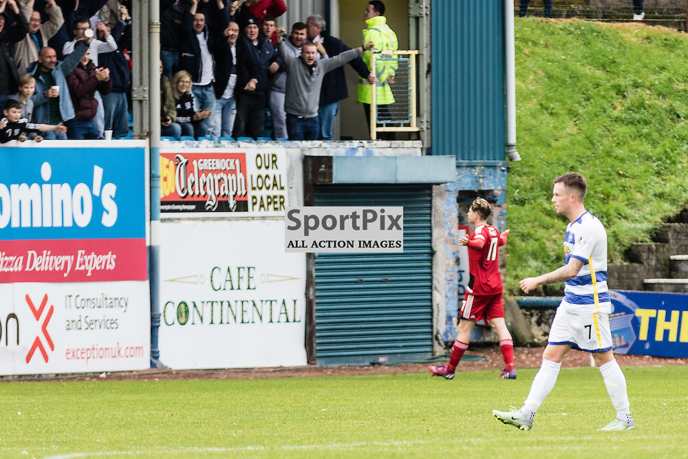 Kevin Nisbet (17) of Ayr United celebrates in front of the away fans after scoring during the Scottish Championship game between Greenock Morton and Ayr United at Cappielow Park on 29th October, 2016 in Greenock, Scotland.   (c) BERNIE CLARK | SportPix.org.uk