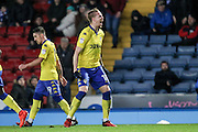 Leeds United defender, on loan from Torino,  Pontus Jansson (18) celebrates scoring a goal making it 2-1 Leeds during the EFL Sky Bet Championship match between Blackburn Rovers and Leeds United at Ewood Park, Blackburn, England on 2 February 2017. Photo by Pete Burns.