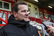 Forest Green Rovers head coach, Mark Cooper pre match interview during the EFL Sky Bet League 2 match between Stevenage and Forest Green Rovers at the Lamex Stadium, Stevenage, England on 26 December 2019.