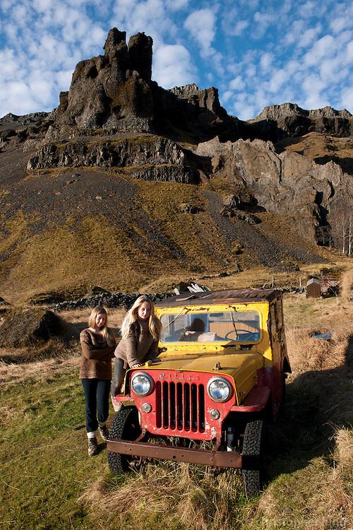Arndís og Bjargey við gamla Willys jeppann á Núpsstöðum...Two girls by an old Willys Jeep at Nupsstadir, East Iceland.