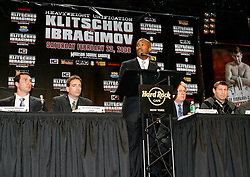 December 4, 2007; New York, NY, USA;  HBO's Keri Davis, speaks at the press conference announcing the February 23, 2008 unification fight between IBF/IBO Heavyweight Champion Wladimir Klitschko (l) and WBO Heavyweight Champion Sultan Ibragimov (r).  The two fighters will meet at Madison Square Garden.