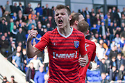 Gillingham Midfielder, Jake Hessenthaler (8) celebrates 1-1 goal during the EFL Sky Bet League 1 match between Oldham Athletic and Gillingham at Boundary Park, Oldham, England on 14 April 2018. Picture by Mark Pollitt.