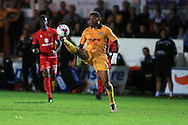 Joss Labadie of Newport county in action. EFL cup, 1st round match, Newport county v Milton Keynes Dons at Rodney Parade in Newport, South Wales on Tuesday 9th August 2016.<br /> pic by Andrew Orchard, Andrew Orchard sports photography.