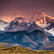 Sunrise over the peaks near Mount Fitz Roy in Los Glacieres National Park, Argentina.