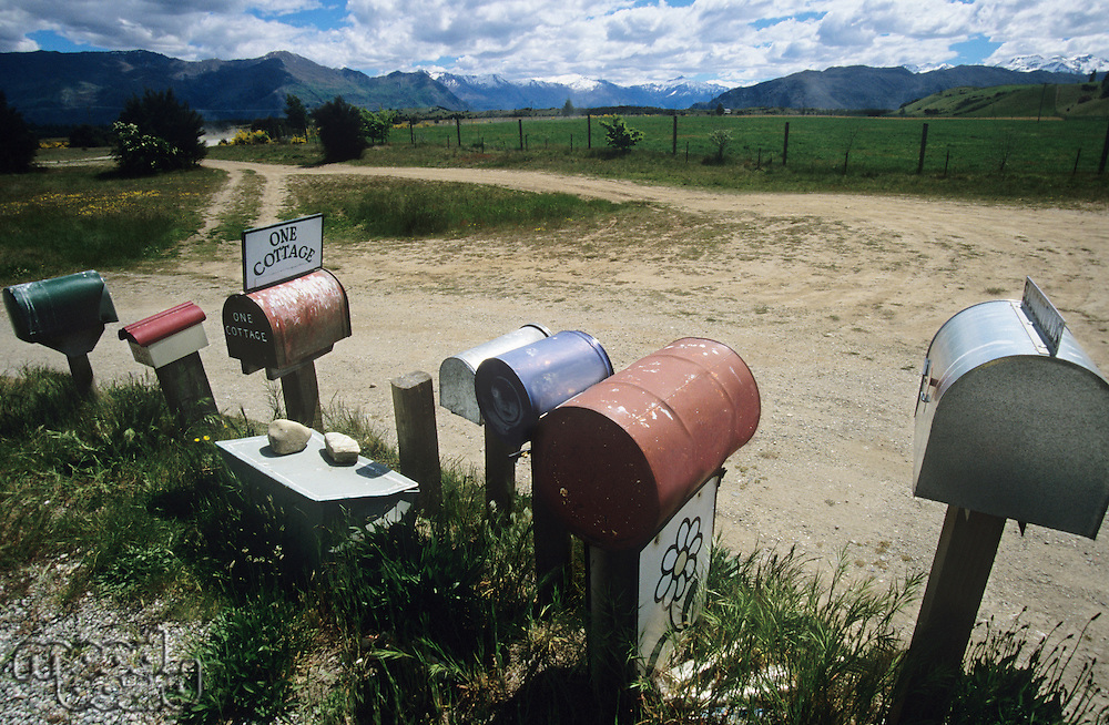 Row of mailboxes in non-urban setting