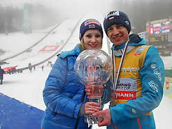 23.03.2014, Planica, Ratece, SLO, FIS Weltcup Ski Sprung, Planica, Siegerehrung, Skisprung, Gesamtwertung, im Bild KAMIL STOCH Z ZONA EWA BILAN STOCH / on podium of overall mens FIS Ski jumping Worldcup Cup at Planica in Ratece, Slovenia on 2014/03/23. EXPA Pictures © 2014, PhotoCredit: EXPA/ Newspix/ Katarzyna Woloszczak<br /> <br /> *****ATTENTION - for AUT, SLO, CRO, SRB, BIH, MAZ, TUR, SUI, SWE only*****