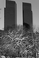 New York , central park under the snow Time warner twin towers  New York - United states