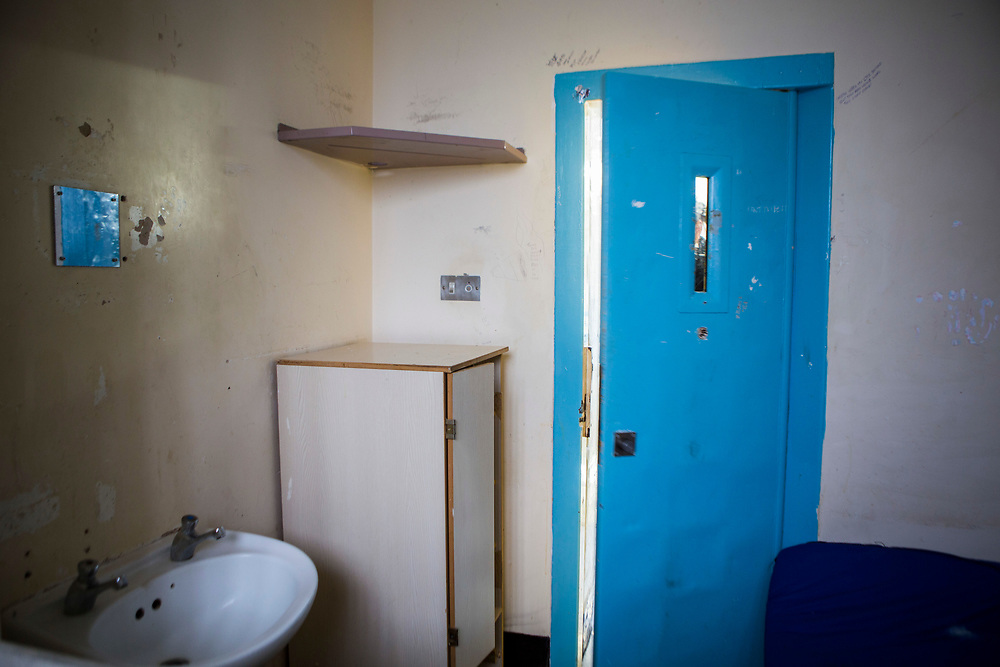 The view from inside a cell of a prison officer on Grenville wing, HMP/YOI Portland, a resettlement prison with a capacity for 530 prisoners. Dorset, United Kingdom.
