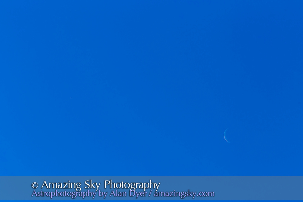 The waning crescent Moon and Venus (at left) in the morning sky, in broad daylight, on June 20, 2017. With the 200mm lens and Canon 6D.