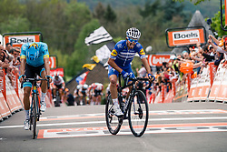 Sprint to victory with Julian Alaphilippe (FRA) of Deceuninck - Quick Step (BEL,WT,Specialized) and Jakob Fuglsang (DEN) of Astana Pro Team (KAZ,WT,Argon 18) during the 2019 La Flèche Wallonne (1.UWT) with 195 km racing from Ans to Mur de Huy, Belgium. 24th April 2019. Photo by Thomas van Bracht / PelotonPhotos.com