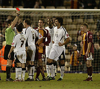 Photo: Aidan Ellis.<br /> Bradford City v Swansea City. Coca Cola League 1. 13/01/2007.<br /> Swansea's Kristian O'Leary is sent off