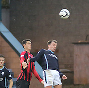 Dundee's Paul McGowan oujumps St Johnstone's Brian Graham -  Dundee v St Johnstone, SPFL Premiership at Dens Park<br /> <br />  - &copy; David Young - www.davidyoungphoto.co.uk - email: davidyoungphoto@gmail.com